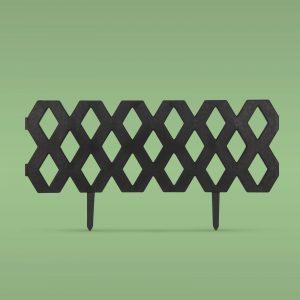 PVC ograja za vrtove ali cvetlične grede - 60 x 22 cm - črna
