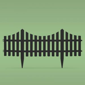 PVC ograja za vrtove ali cvetlične grede - 60 x 23 cm - črna