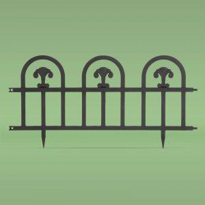 PVC ograja za vrtove ali cvetlične grede - 60 x 30 cm - črna
