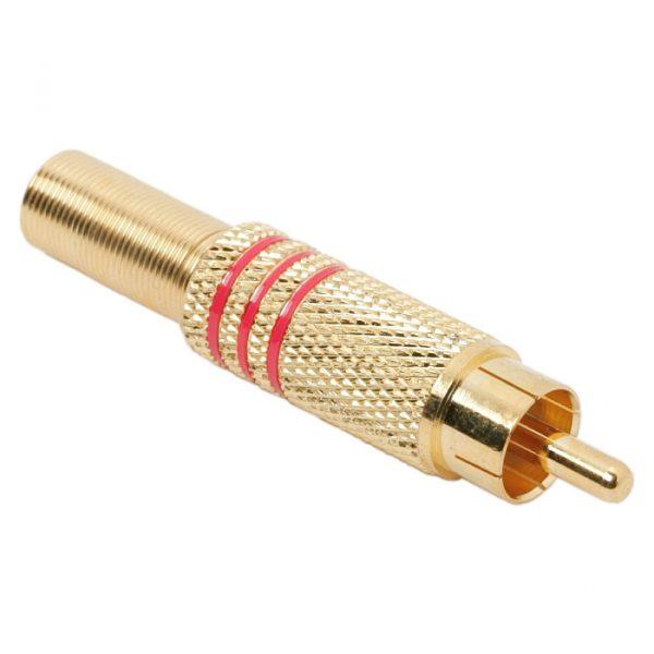 RCA vtič - pozlačen - za max. 6 mm kabli - rdeč