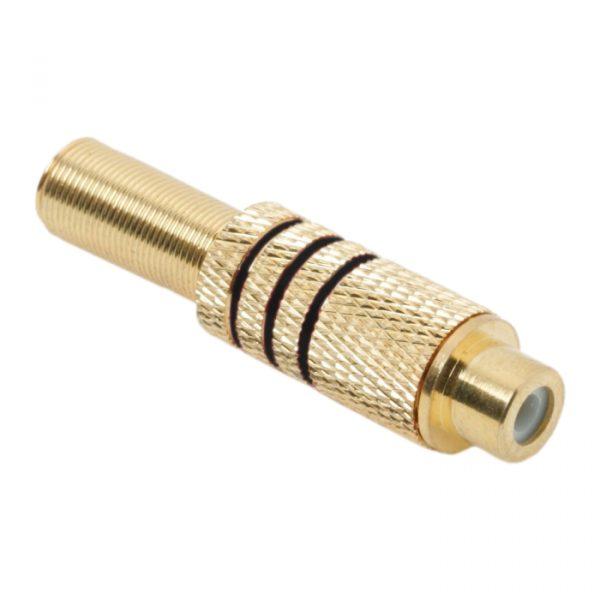 RCA vtičnica, pozlačena - za max. 6 mm kable - črna