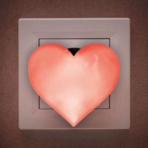Rdeča nočna LED lučka - srce - 230 V
