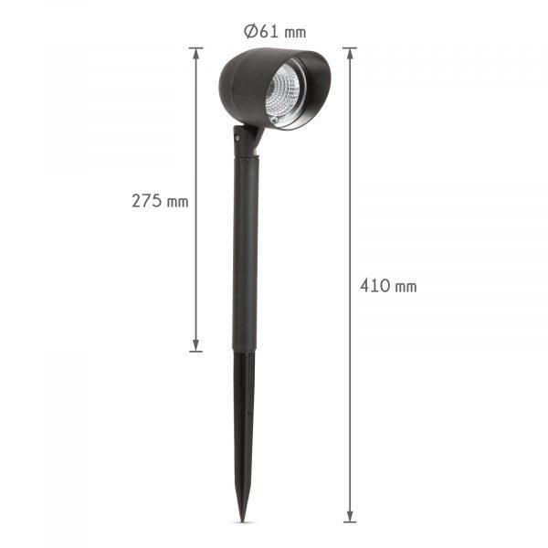 Reflektorska LED solarna svetilka - črna - 410 mm