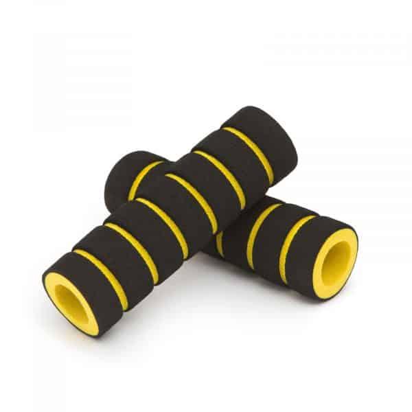 Ročaj za kolo iz pene črno - rumena 110mm