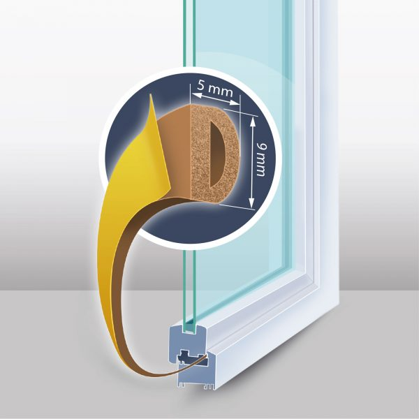 "Samolepilni tesnilni trak za vrata / okna - profil ""D"" - 100 m, rjav 9 mm"