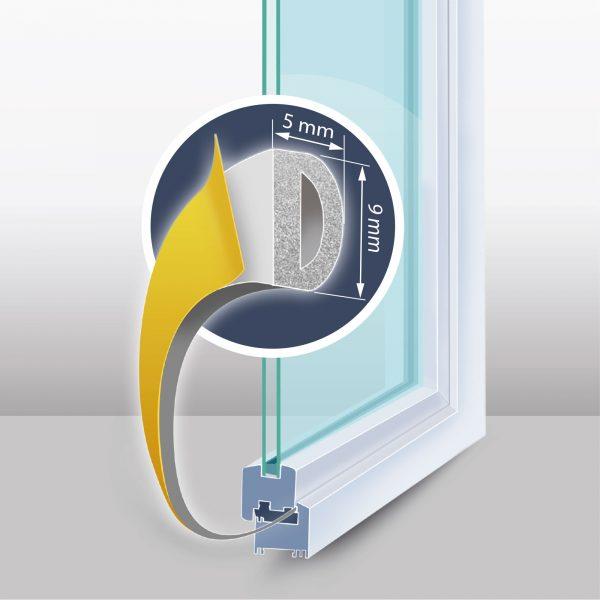 "Samolepilni tesnilni trak za vrata / okna - profil ""D"" - 2x3 m, bel 9 mm"