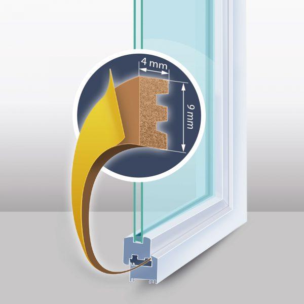 """Samolepilni tesnilni trak za vrata / okna - profil """"E"""" - 100 m, rjav 9 mm"""
