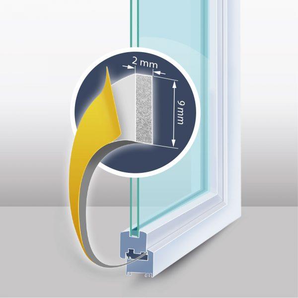 """Samolepilni tesnilni trak za vrata / okna - profil """"I"""" - 2x3 m, bel 9 mm"""