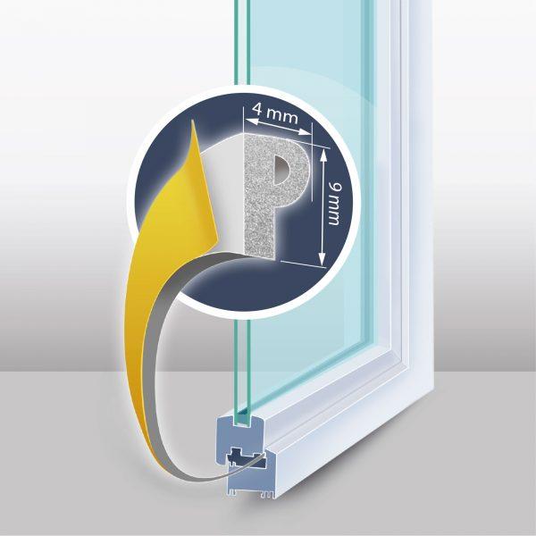 "Samolepilni tesnilni trak za vrata / okna - profil ""P"" - 100 m, bel 9 mm"