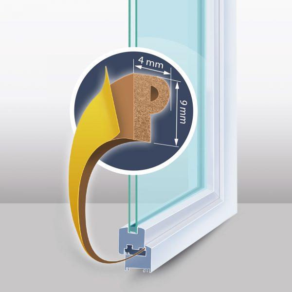 """Samolepilni tesnilni trak za vrata / okna - profil """"P"""" - 2x3 m, rjav 9 mm"""