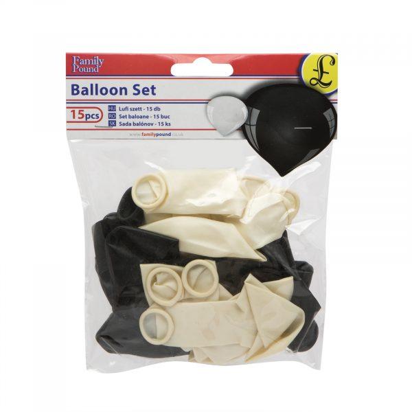 Set balonov, črno-beli, 15 kosov / paket