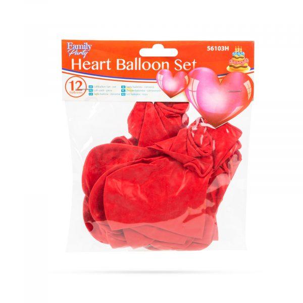 Set balonov srčki, rdeči, 12 kosov / paket