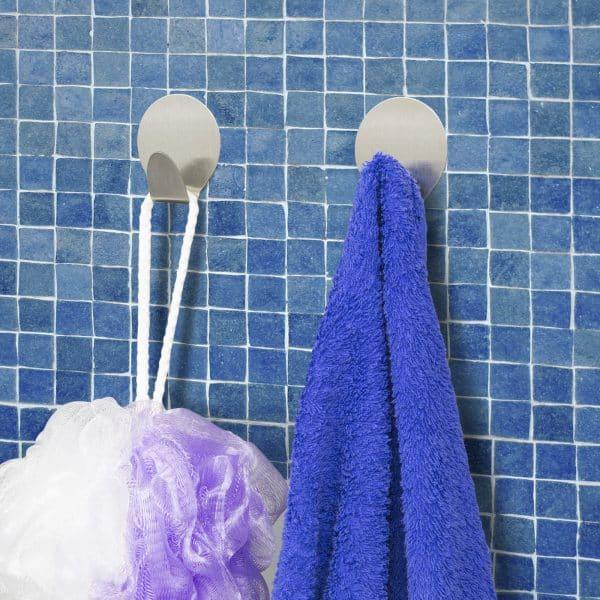 Set obešalnikov - samolepilni, iz nerjavečega jekla, 2 kosa / blister