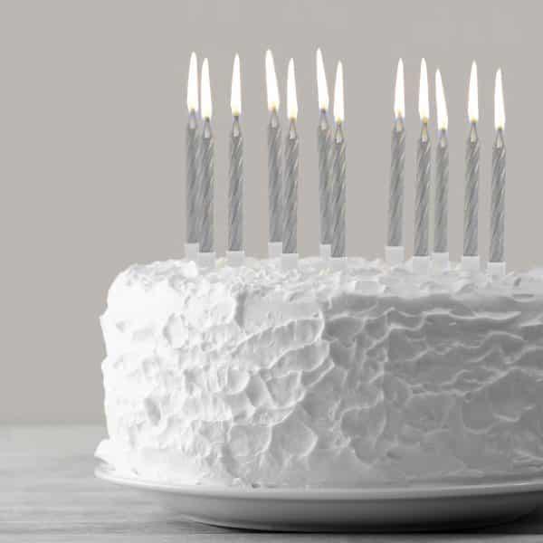Set svečk za na torto - srebrne, 12 kosov