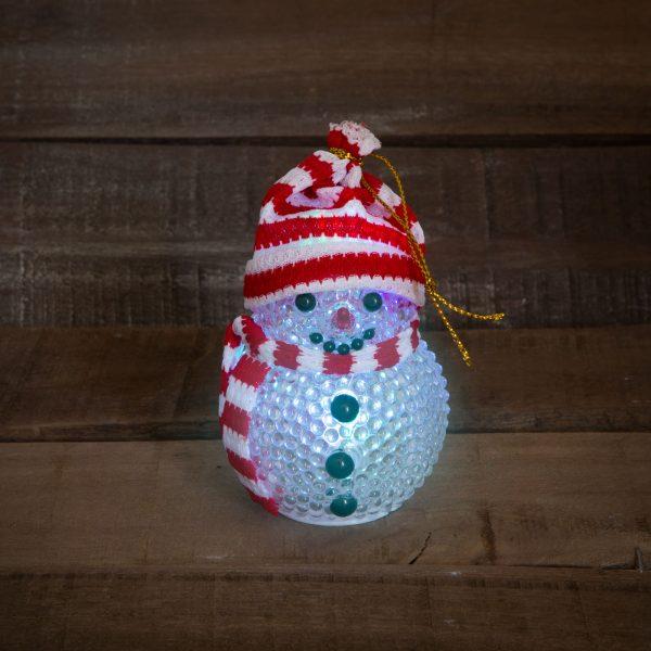 Snežak z LED lučko - 8 cm