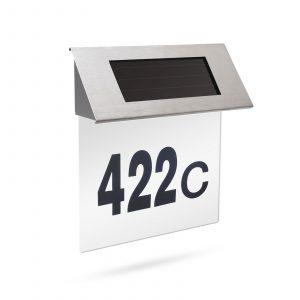 Solarna hišna številka iz nerjavečega jekla