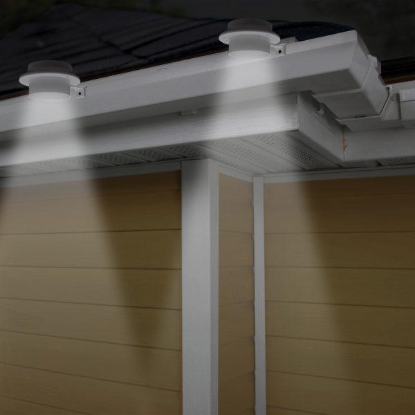 Solarna LED svetilka za žleb / ograjo s 3 LED - bele barve