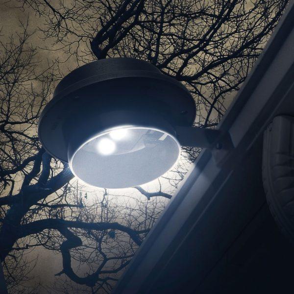Solarna LED svetilka za žleb / ograjo s 3 LED - črne barve