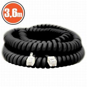 Spiralni telefonski kabel - 4P / 4C - 3,6 m - črn