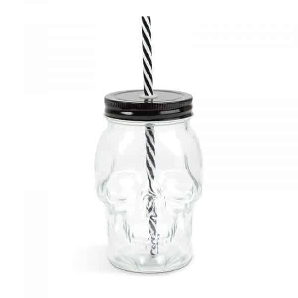 Steklen kozarec z motivom lobanje s slamico in pokrovčkom - 450 ml