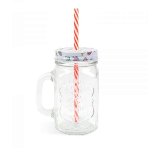 Stekleni kozarec s slamico in pokrovom - 450 ml - 2 vrsti