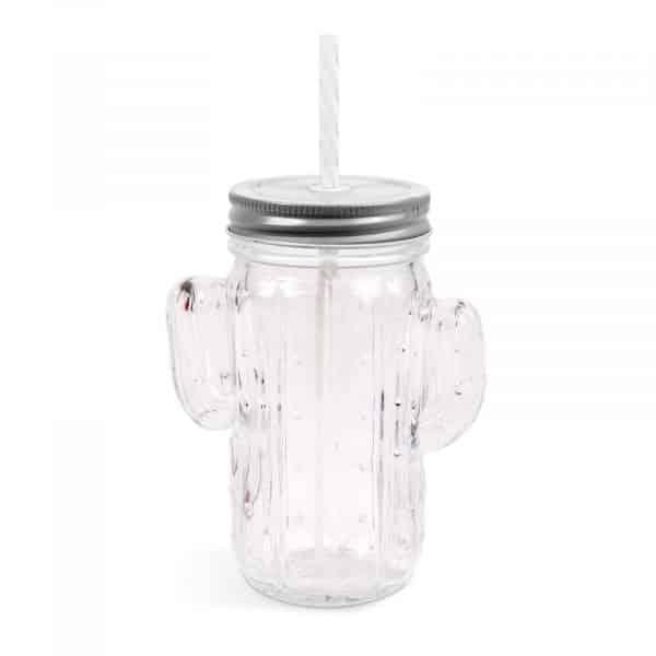 """Stekleni kozarec s slamico in pokrovom """"kaktus"""" - 350 ml - 2 vrsti"""
