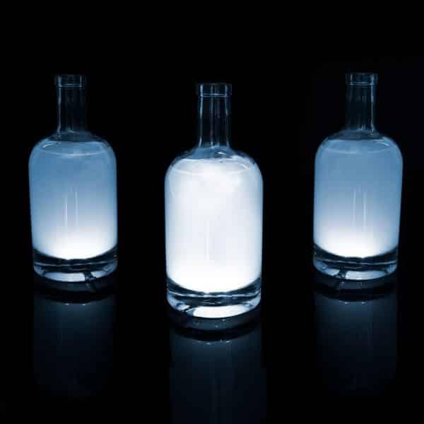 Stekleni LED dekor - samolepilni - 4 kos bele LED - delovanje na baterije