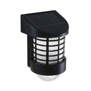 Stenska LED solarna svetilka - toplo bela - črna - plastika
