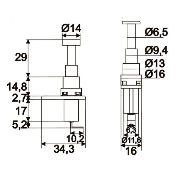 Stikalo - 1 krog - 20 A - 12 V DC - ON - (OFF)
