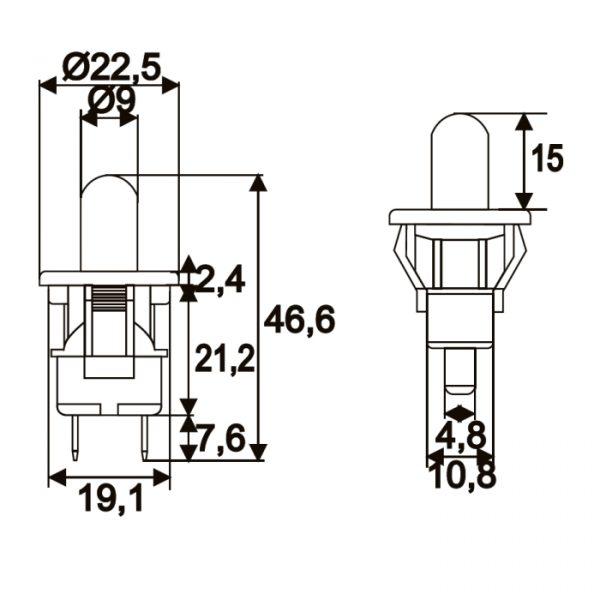 Stikalo - 1 krog - 2,5 A - 250 V - ON - (OFF)