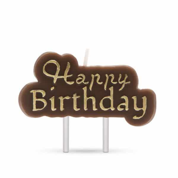 """Svečka """"Happy Birthday"""" - rjava - zlata barva"""