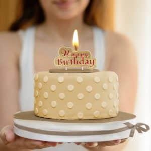 """Svečka """"Happy Birthday"""" - zlata - rdeča barva"""
