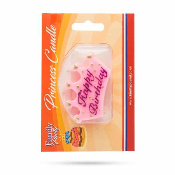 """Svečka v obliki krone """"Happy Birthday"""" - roza, vijolične črke"""