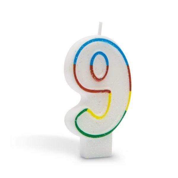 Svečka za na torto 7cm številka devet