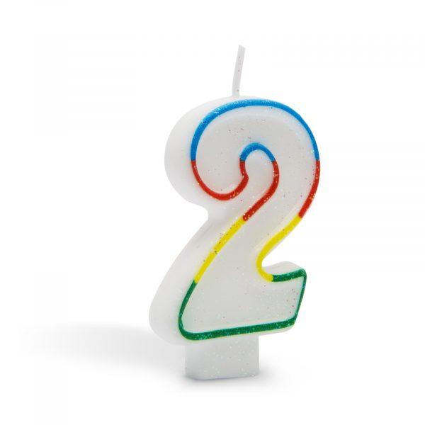 Svečka za na torto 7cm številka dve