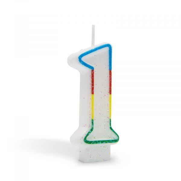 Svečka za na torto 7cm številka ena