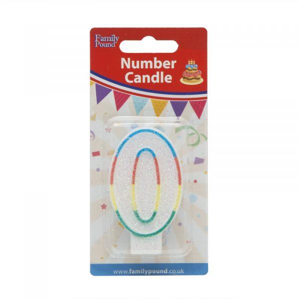 Svečka za na torto 7cm številka nič