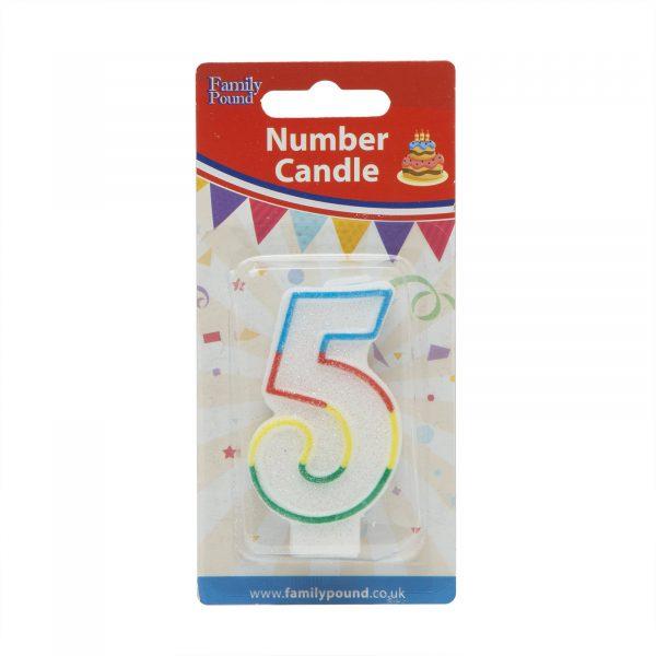 Svečka za na torto 7cm številka pet