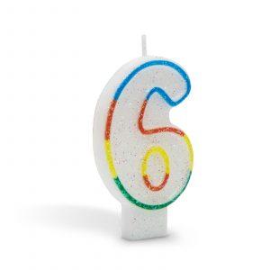 Svečka za na torto 7cm številka šest