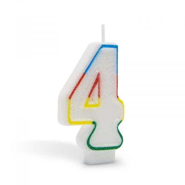 Svečka za na torto 7cm številka štiri