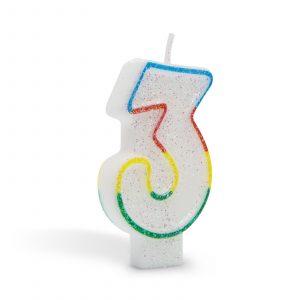 Svečka za na torto 7cm številka tri