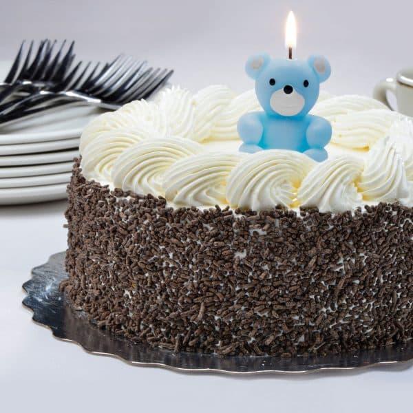 Svečka za na torto v obliki medvedka modra 4 cm