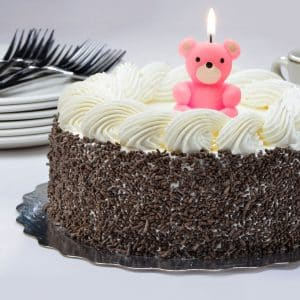 Svečka za na torto v obliki medvedka pink 4 cm