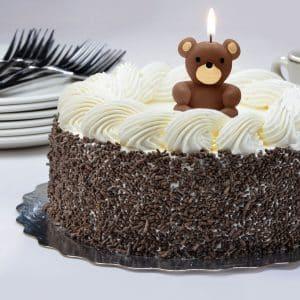 Svečka za na torto v obliki medvedka rjava 4 cm
