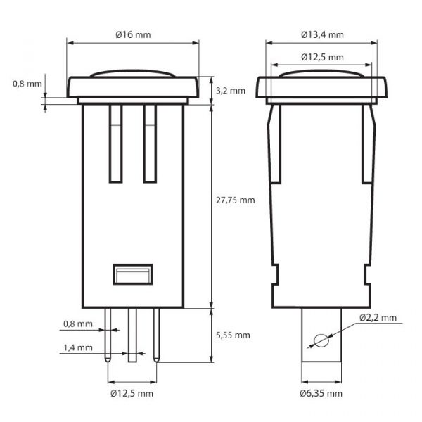 Svetlobni indikator 12V - moder