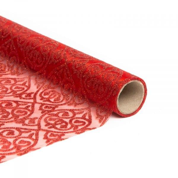 Tekač za božično mizo - rdeče barve - 180 x 28 cm