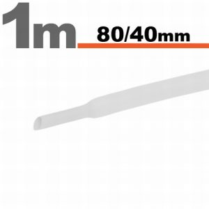 Termoskrčljiva cev - skrčka - bela - 80/40 mm