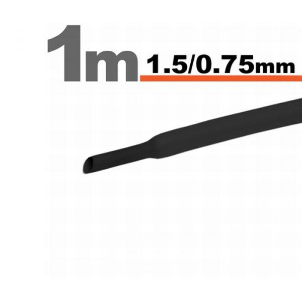Termoskrčljiva cev - skrčka - črna - 1,5 / 0,75 mm