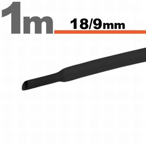 Termoskrčljiva cev - skrčka - črna - 18 / 9 mm