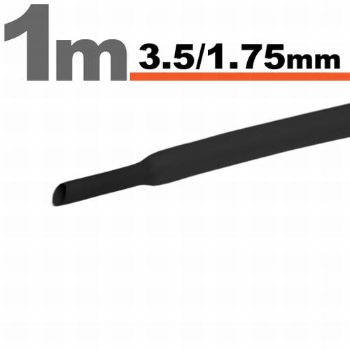 Termoskrčljiva cev - skrčka - črna - 3,5 / 1,75 mm